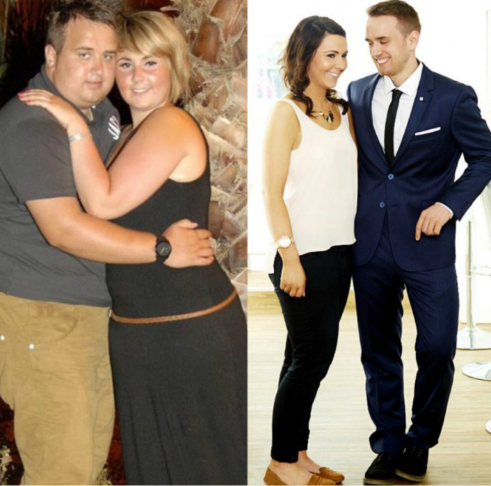 pareja antes y después de sobrepeso
