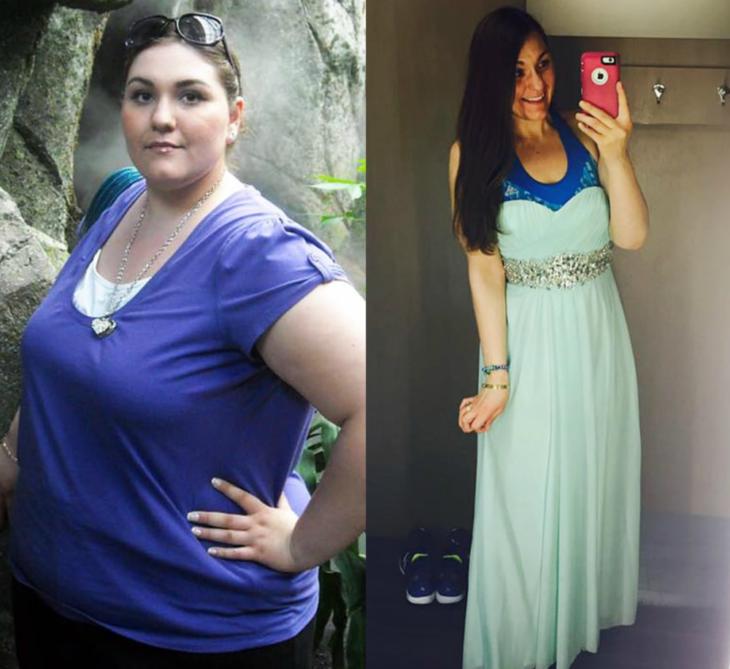 mujer con sobre peso antes y después