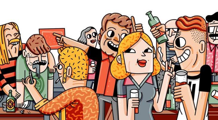 ilustración de personas en una fiesta