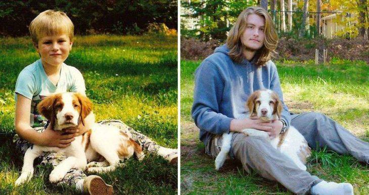 niño antes y despues sentado con su perro