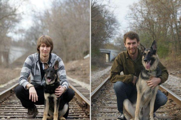 niño antes y después con su perro