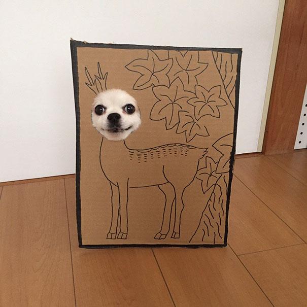 Perro chihuahua con una mascara de cartón en forma ciervo