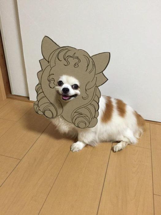 Perro chihuahua con una mascara de cartón en forma de perrito