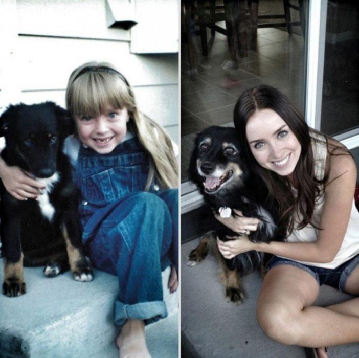 niña sentada antes y después al lado de su perro