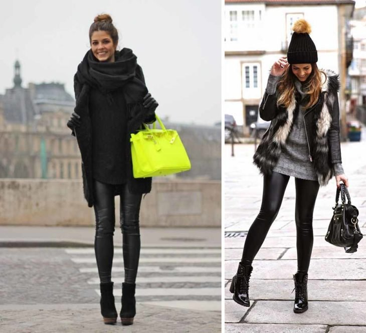 Black winter outfits.