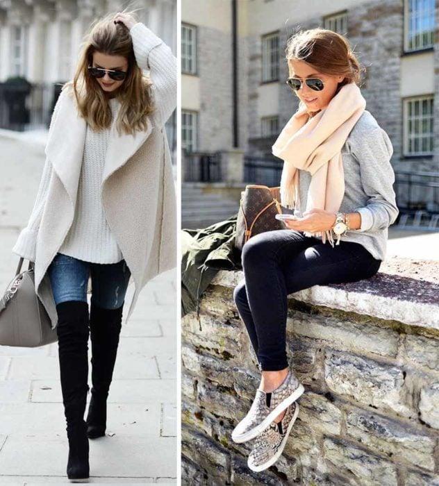 Atuendos de invierno en colores claros.