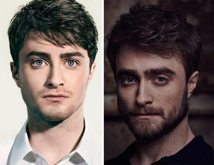 Daniel Radcliffe bearded and beardless.