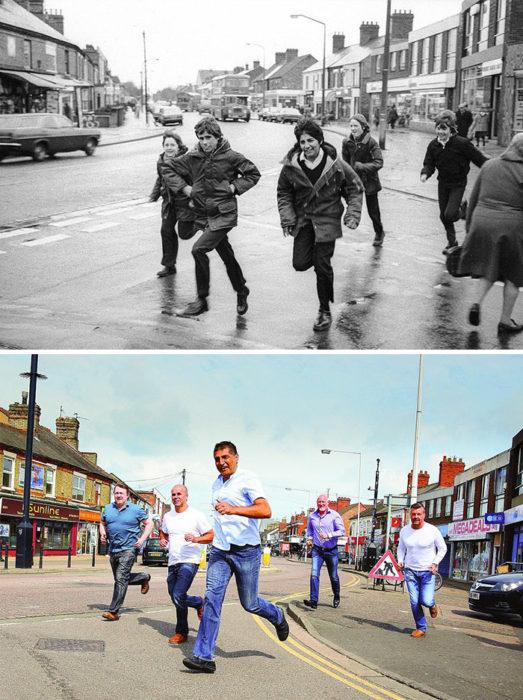 fotografía antes y después 30 años chicos corriendo