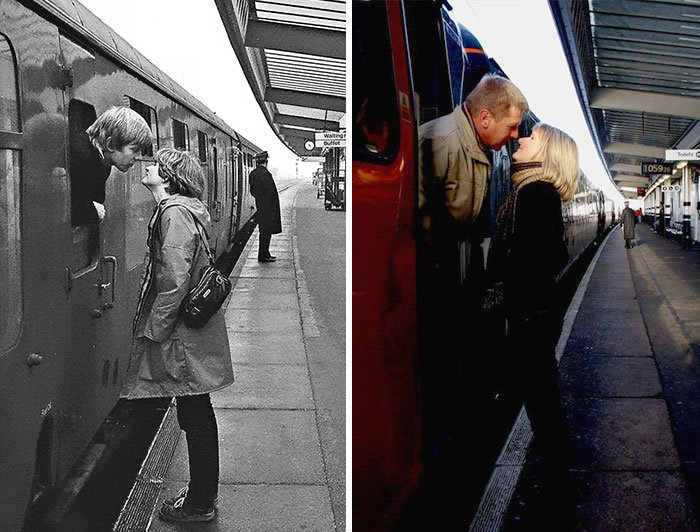 pareja besándose en estación de tren antes y después de 30 años