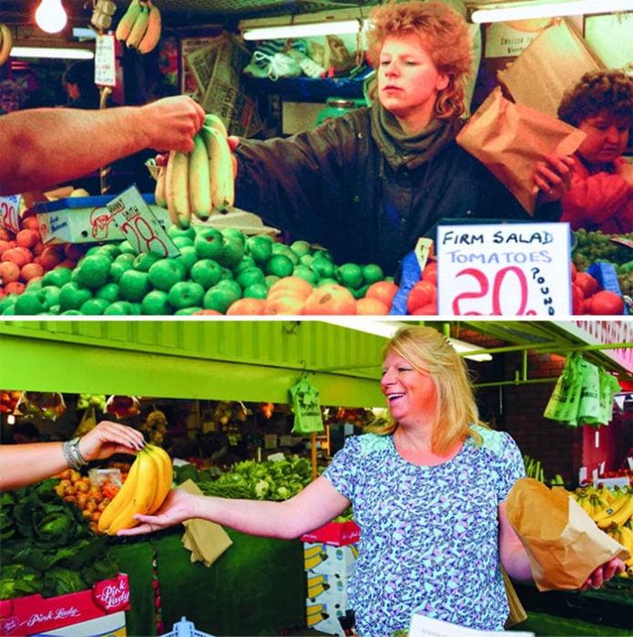 mujer en el supermercado antes y después de 30 años