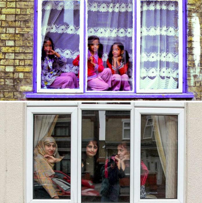 niñas en ventana y después de 30 años
