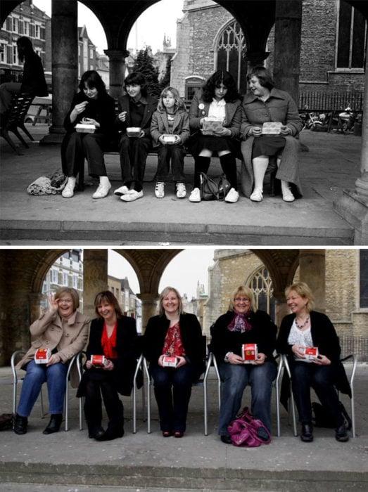 grupo de amigas 30 años antes y después