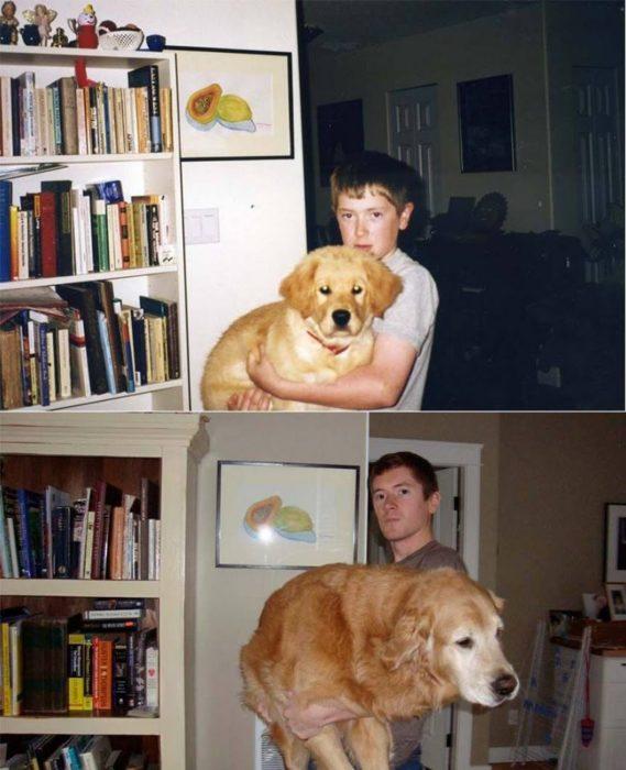 niño antes y después cargando a un perro