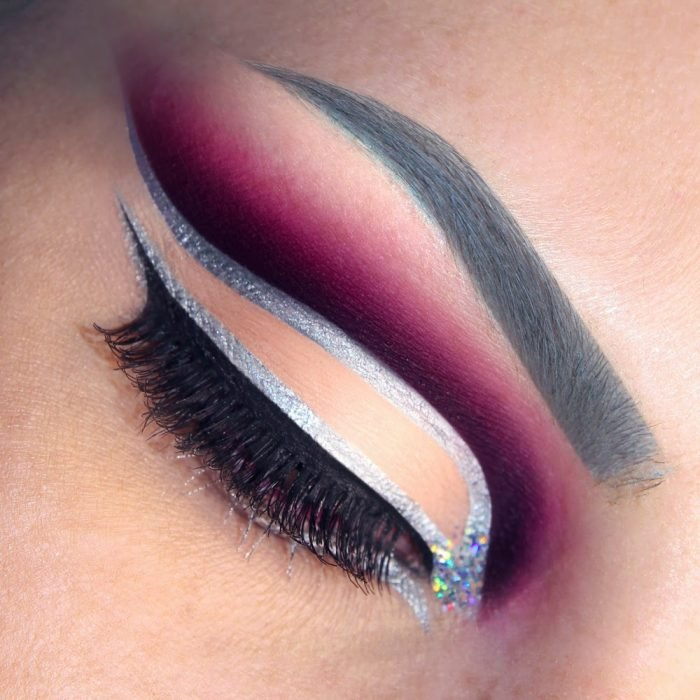 silver purple makeup outlined