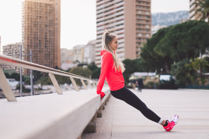 blond woman exercising