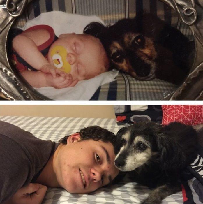 bebé acostado con su perro antes y después