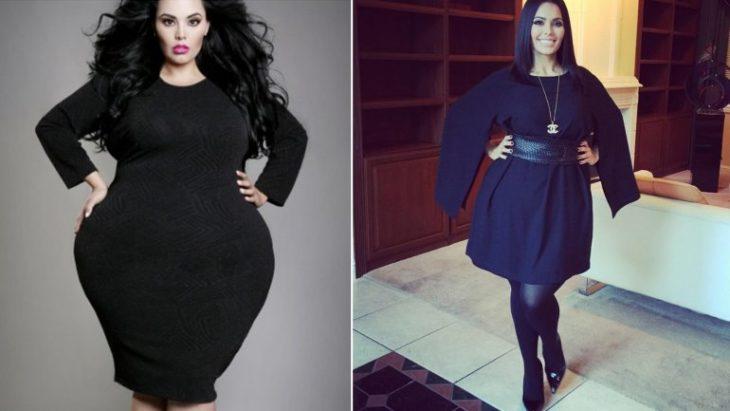 mujer morena antes y después de sobre peso