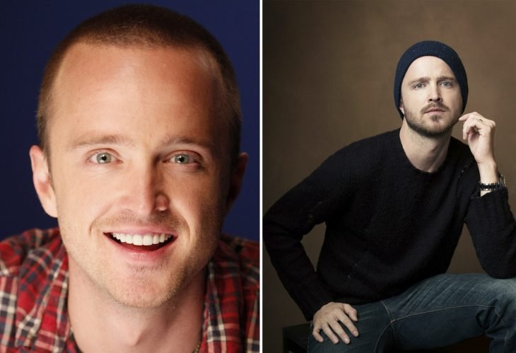 Aaron Paul with and without a beard.