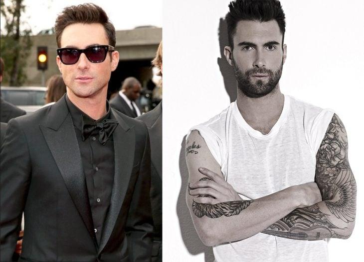 Adam Levine antes y después de la transformación.