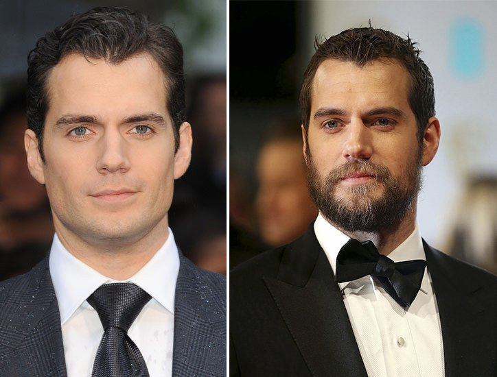 Henry Cavill with and without a beard.