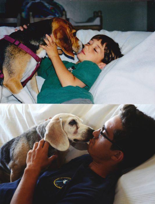 niño con su perro antes y después