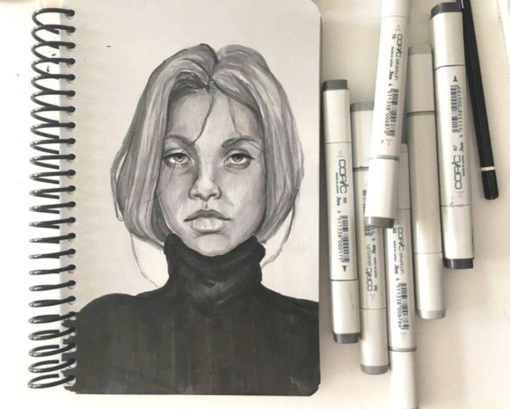 dibujo de mujer con plumones