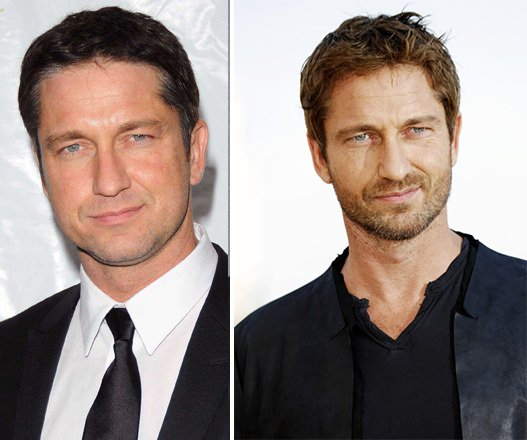 Gerard Butler with and without a beard.