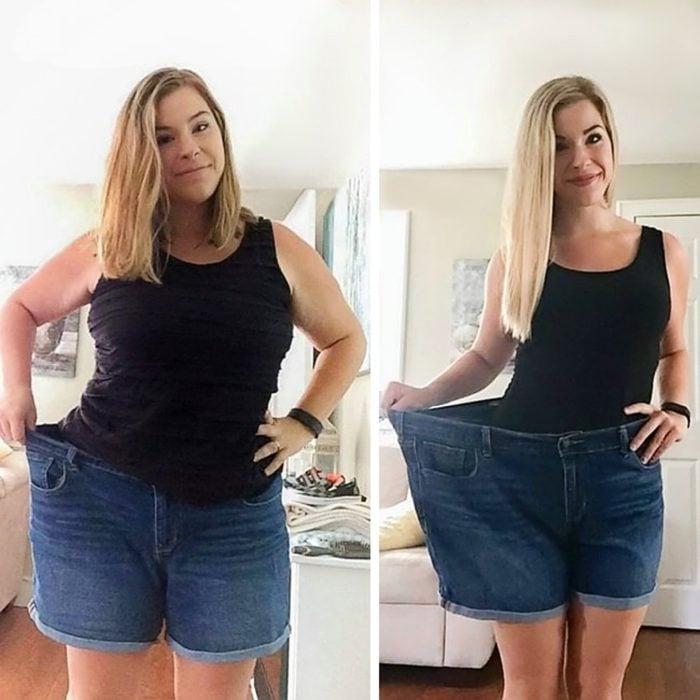 mujer rubia antes y después de sobre peso