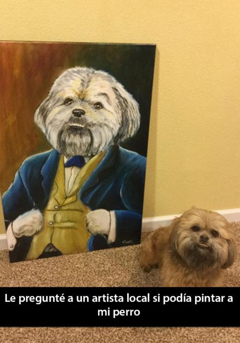 Snapchat de un perro parado junto a un dibujo de él