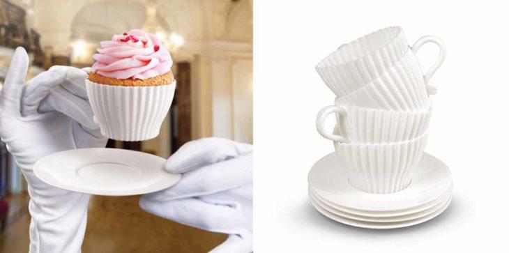 Moldes para cupcakes en forma de taza de té.
