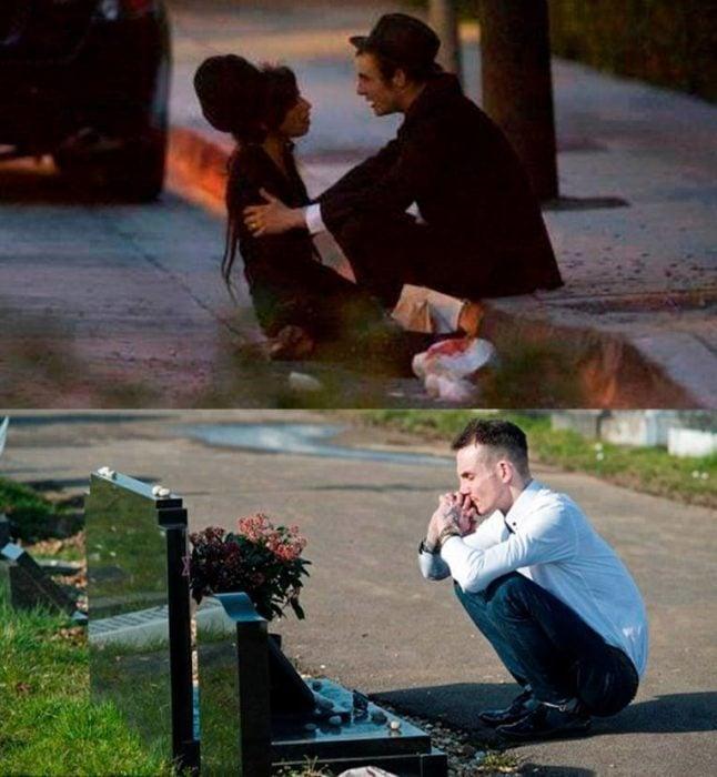 mujer sentada en la calle y hombre en tumba