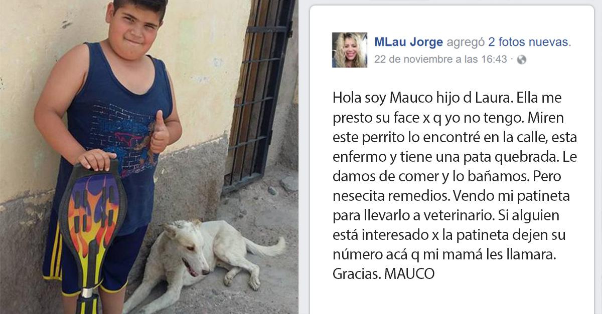 Este pequeño vendió su patineta para curar a un perro callejero