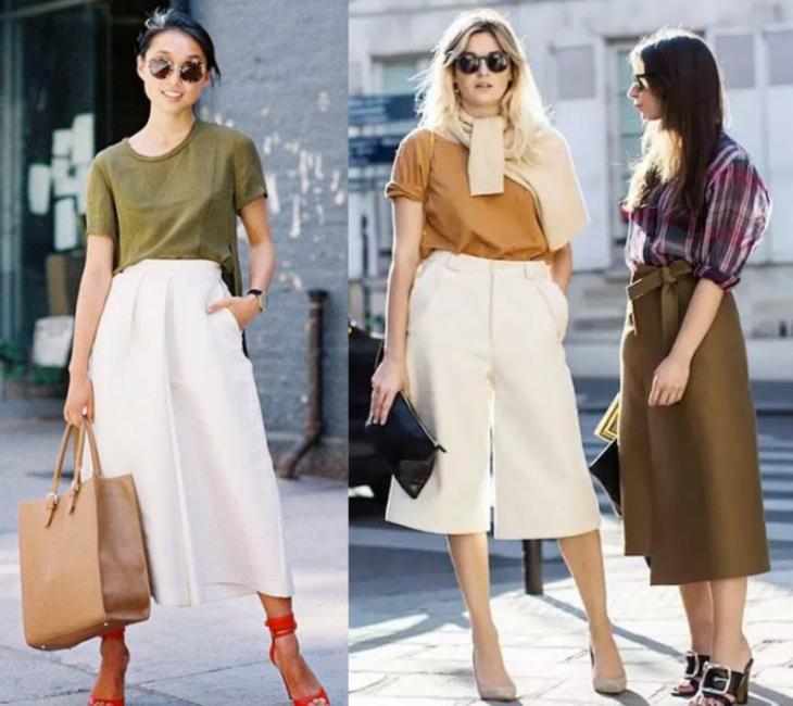 mujeres con pantalones blancos anchos