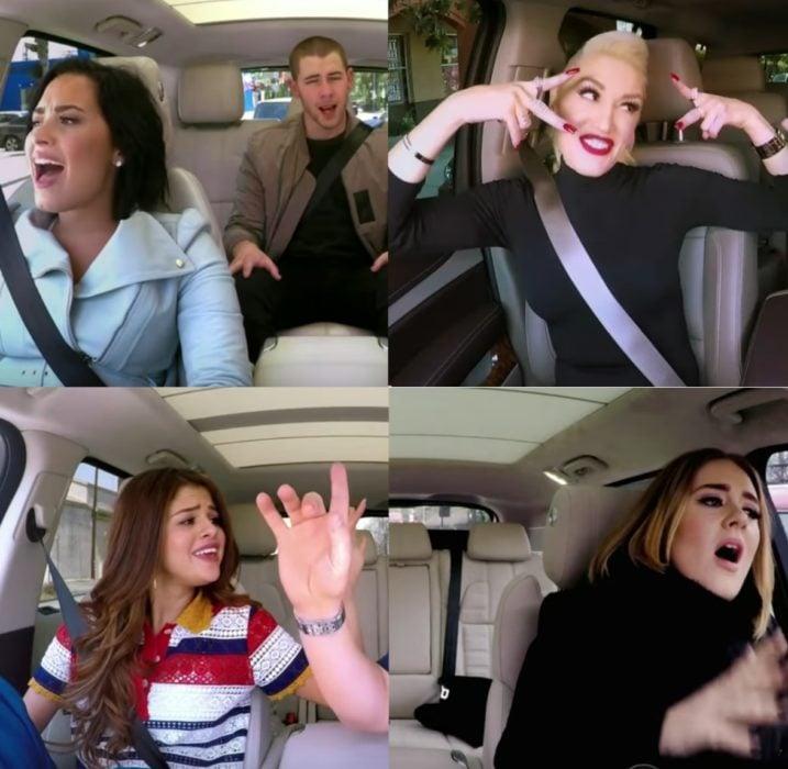 hombres y mujeres cantando en un coche