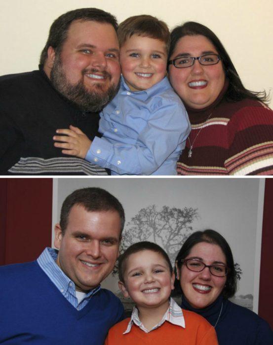 transformacion de familia con sobrepeso antes y despues