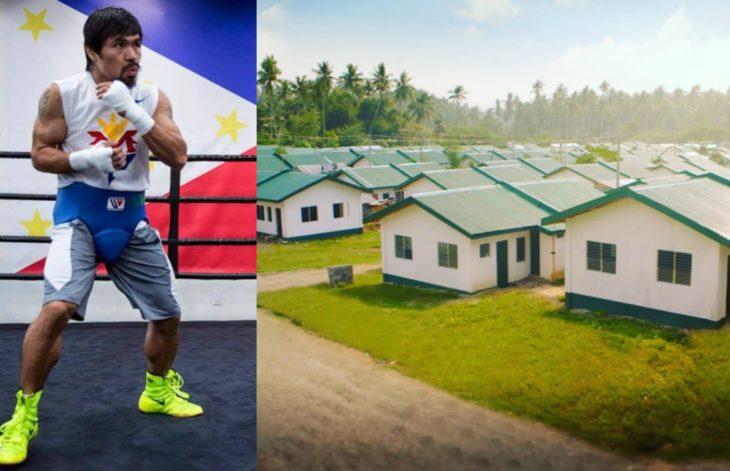 hombre boxeador al lado de casas