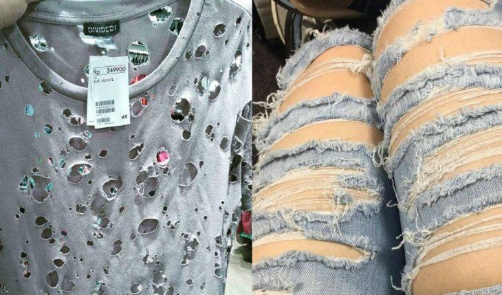 blusa y pantalones muy rotos