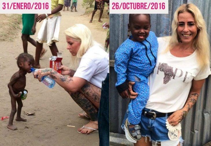 mujer rubia al lado de bebé africano
