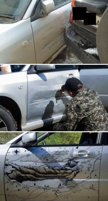 Hombre pintando el bache de su carro