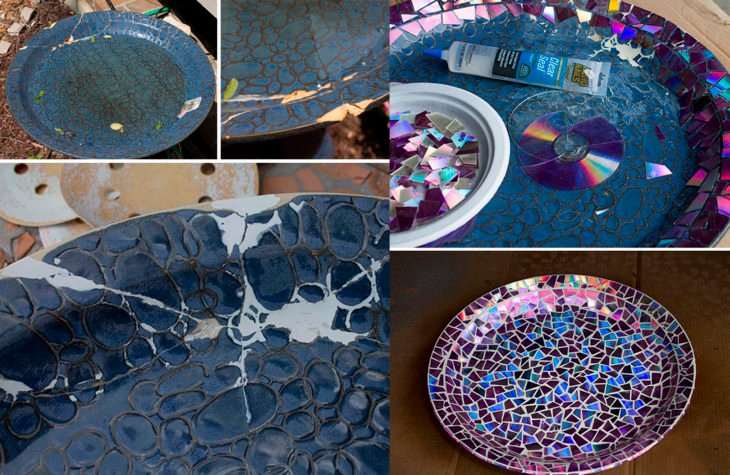 trozos de disco cubriendo un plato de cerámica viejo
