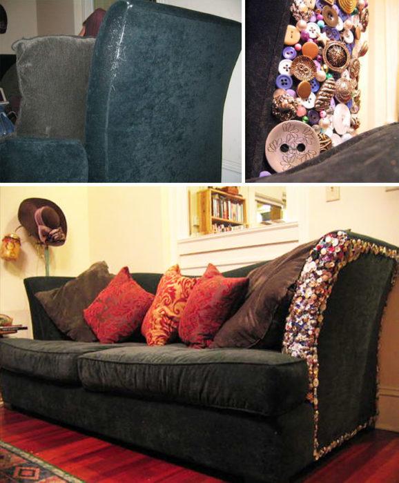 Parte rasgada de un sofá cubierta con botones