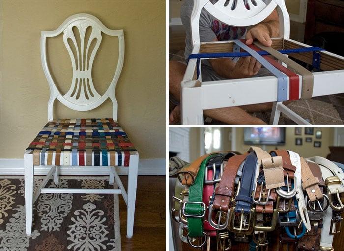 Asiento de una silla creado con cinturones