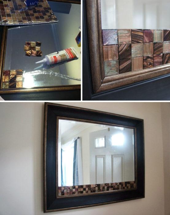 Decoración para espejo de casa cuarteado