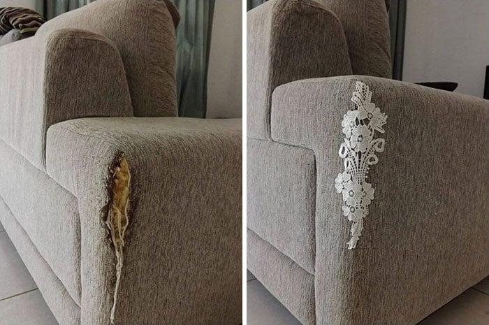 Encaje puesto para las rasgaduras del sillón