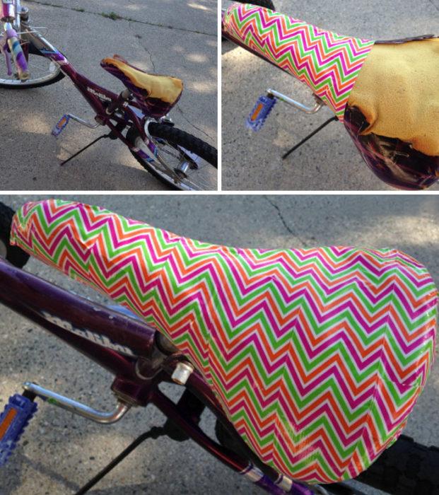 Asiento de bicicleta forrado con cinta