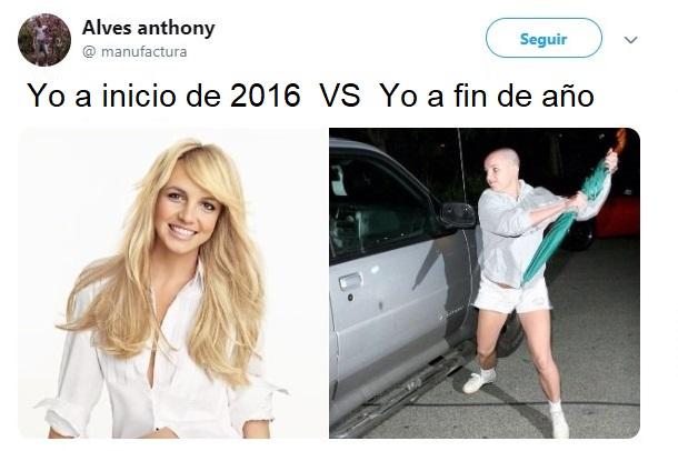 Britney Spears sonriendo comparada con Britney Spears rompiendo el vidrio de un automóvil