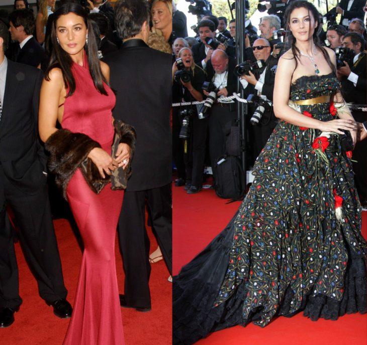 mujer con vestido negro y vestido rojo