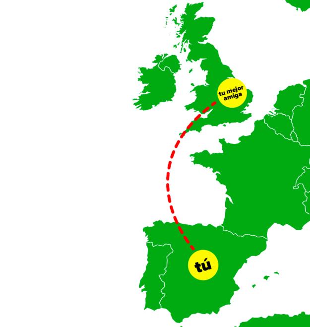 mapa geografico de distancia entre amigas
