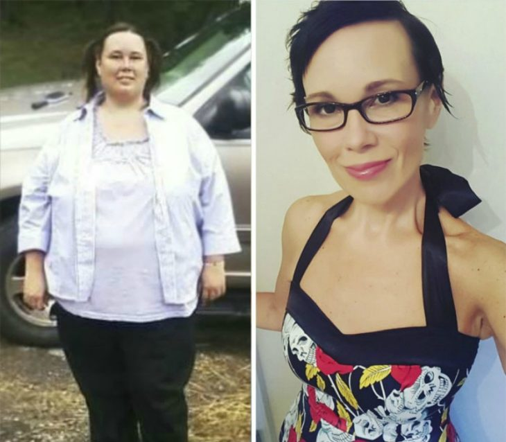 transformacion de mujer con sobrepeso antes y despues