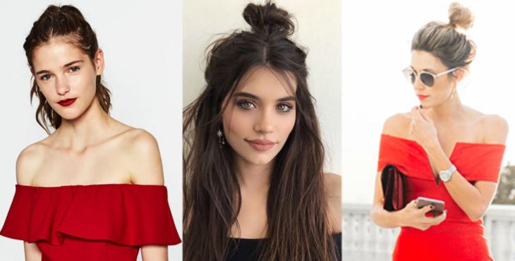 collage mujeres con escote en los hombros y tres peinados diferentes